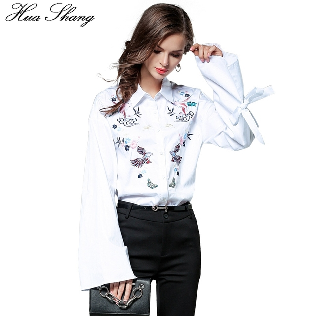 b2bb88897f Hua Shang Fall Fashion Cotton Linen Women Long Sleeve White Shirt  Embroidery Floral Lace Up Tie Flare Sleeve Female Shirt Blouse