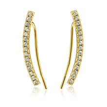 Dormith Womens 925 sterling silver  AAA cubic zirconia fashion drop earrings 18K gold plated