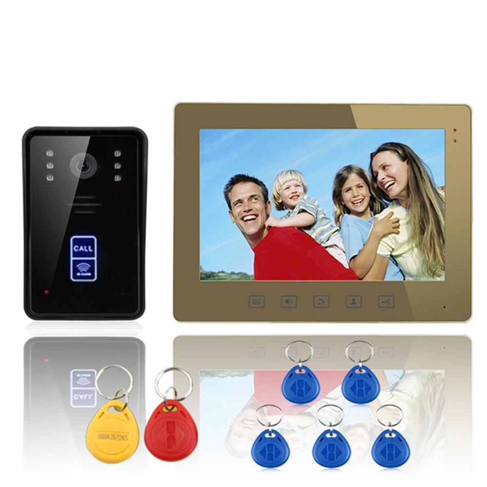 New ENNIO 9inch Color Fingerprint Recognition Record Video Door Phone Intercom Rainproof Night Vision 900TVL Free shipping