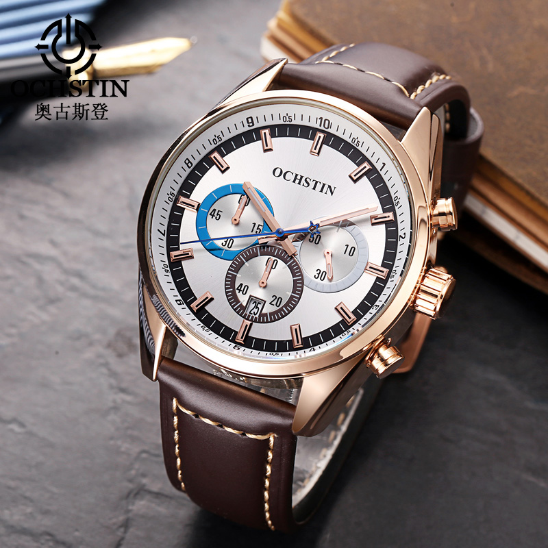 OCHSTIN Fashion Casual Mens Watches Top Brand Luxury Clock Men Waterproof Quartz Watch Leather Table Hour New Horloges Mannen fashion men s horloges mannen roman auto day quartz stopwatch sport men s watch mens wirst watches gift box free ship