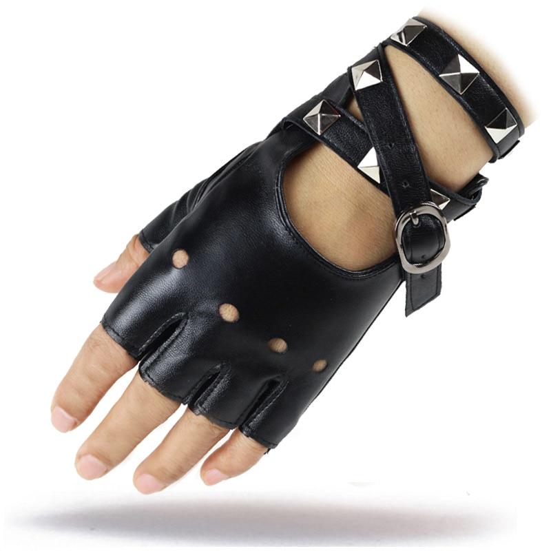 LongKeeper 1 Pair Half Finger PU Leather Gloves Women Rock Punk Style Rivet Fingerless Black Gloves New Mittens Luvas