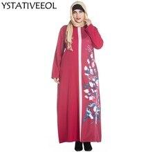 Long Sleeve Flower Print Ethnic Maxi Islamic clothing Women Dress Muslim  Abaya Robe plain kaftans formal evening dress 913b46e5c4d2