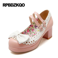 Customized Medium Heart Japanese Pumps Mary Janes Women Shoes Plus Size Chunky Round Toe Pink 11