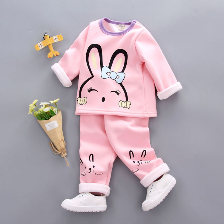 Toddler Girls Clothes Sets Kids Autumn Winter Children Velvet Clothing Set Cartoon Hello Kitty Baby Girls Tracksuits Tops+Pants autumn winter baby girls boys kids infants cartoon children thermal velvet jackets cardigan sweaters pants clothing sets s3901