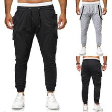 Joggers Sweats Sports Fitness Slim Fit Outwear Sportswear Men Pants Sweatpants & Zipper stitching grey black