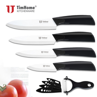 Timhome Ceramic Knife Set 3 4 5 6 Inch Peeler Covers White Blade Zirconia Ceramic Knives