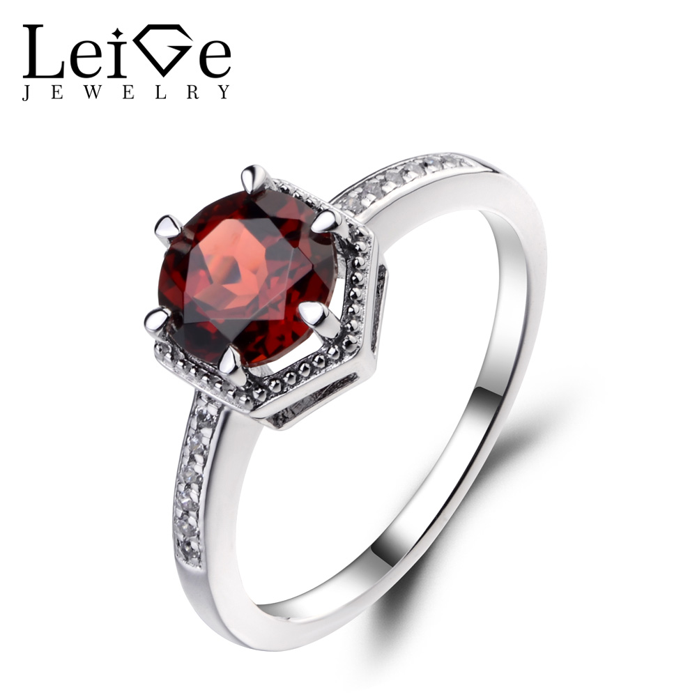 Leige Jewelry Natural Garnet Ring Sterling Silver 925 Fine Jewelry Round Cut Gemstone Wedding Engagement Rings for Women simple 925 sterling silver round rainbow natural moonstone rings for women girls wedding engagement jewelry finger bague aneis