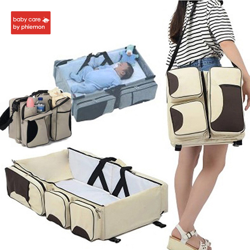 Babycare Multi function Mummy Bag Baby Newborns Portable Travel Bed Cradle Cot Kids Changing Diapers Mummy Bag Infant Baby Crib