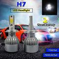 TAITIAN 7600Lumens Super Bright Globe Bulbs H7 COB LED Headlights Xenon White 6000K
