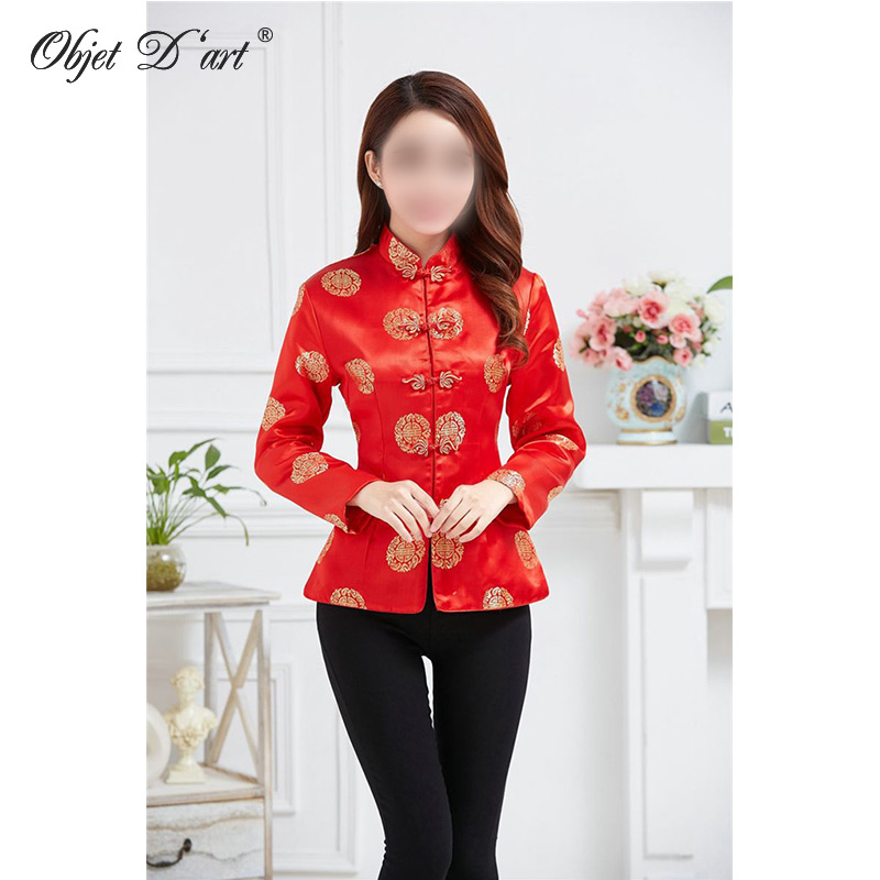 Chinese Red Qipao Shirt Women's Fashion Embroidery Cheongsam Blouse Chinese Style Vintage Long-Sleeve Tang Suit Top S-XXXL Size