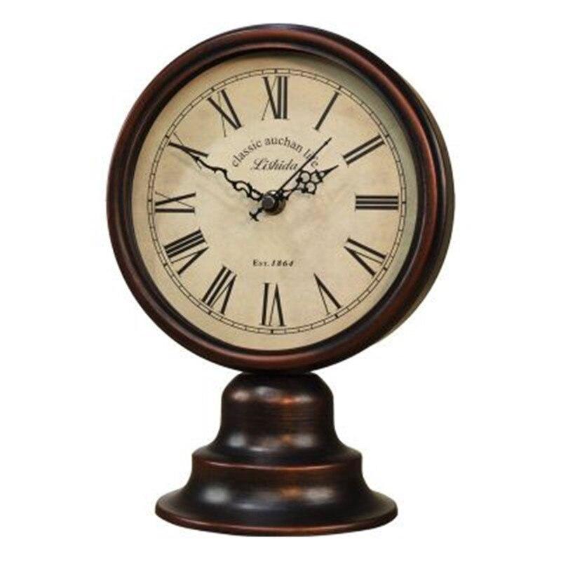Antique Pays D'amérique Horloge De Bureau En Métal Européenne Rétro-nostalgique Artisanat Horloge De Bureau Décoration de La Maison Ornements