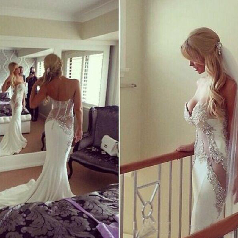 Sexy Sweetheart Wedding Dresses Mermaid Satin Lace Applique Bridal Gowns With Beads Custom Made Wedding Dresses