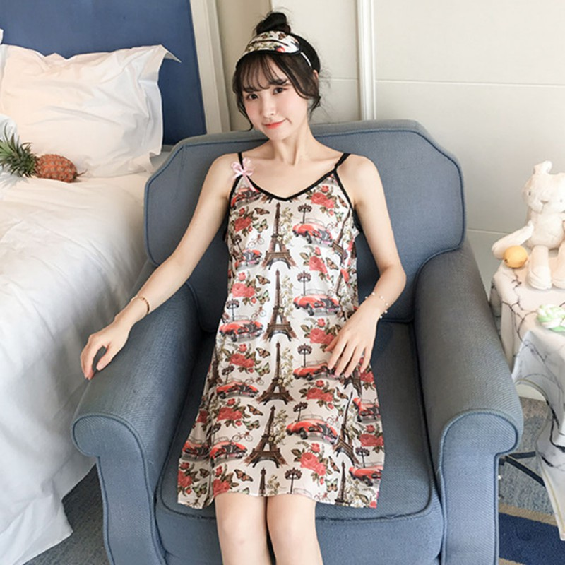 Women Summer Nightgown <font><b>Sexy</b></font> Sling Sleep <font><b>Dress</b></font> Sleeveless Nightdress <font><b>Girls</b></font> <font><b>Night</b></font> <font><b>Dress</b></font> Female Strap Sleepshirts image