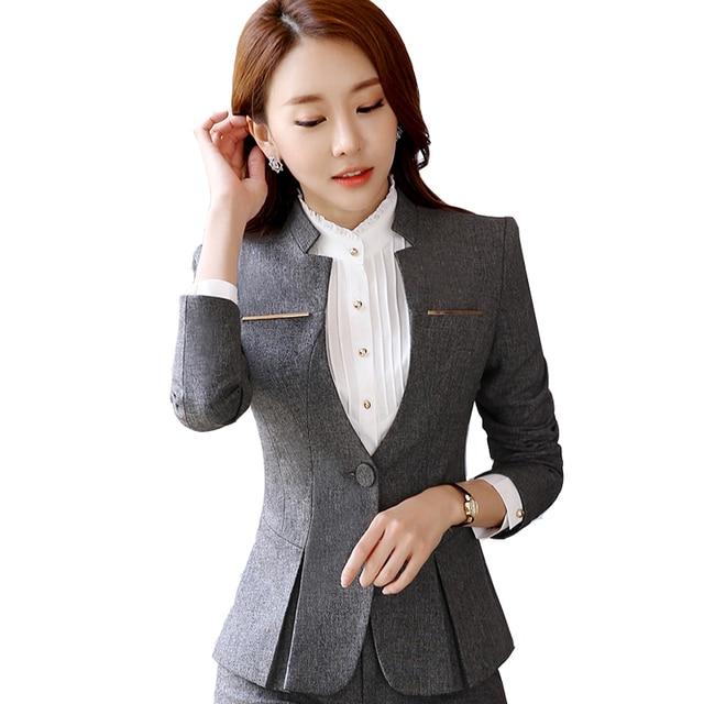 ee7a4987db US $44.32 11% di SCONTO|Primavera autunno elegante signore vestito con  gonna per le donne affari abiti formali ufficio pantaloni tute  abbigliamento da ...