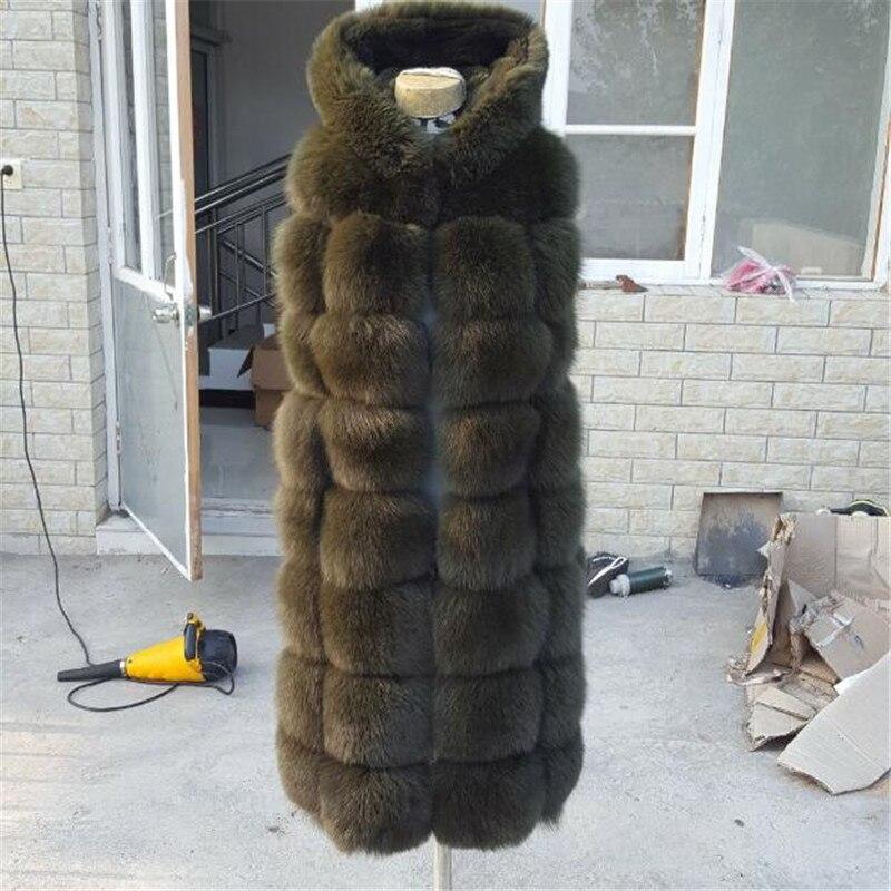Gilet Renard Cm D'hiver Haute Automne Fuchsia Capuche Fourrure 100 Mode Pain Et Qualité wP4Bqf