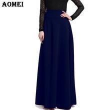 S M L 5XL New High Waist Pleat Elegant Skirt Wine Red Black Solid Color Long Skirts Women Faldas Saia 5XL Plus Size Ladies Jupe