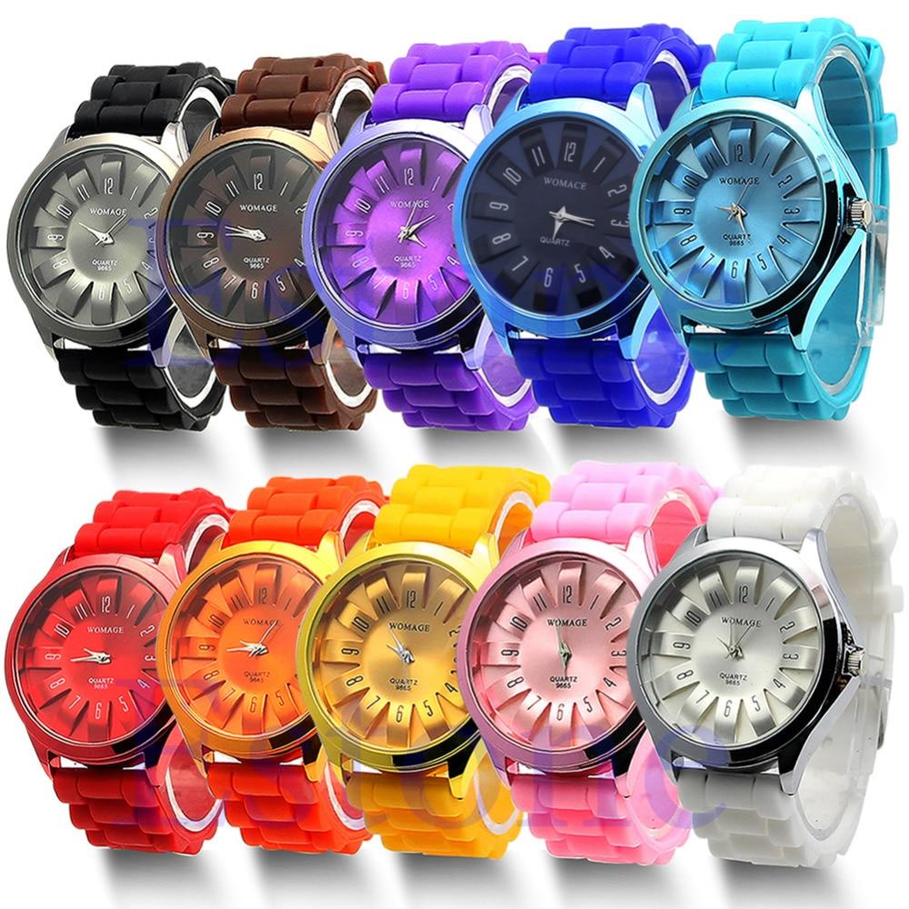 1 PC Fashion Pretty Jelly Wrist Watch Men Women Silicone Quartz Sports Watch Geneva