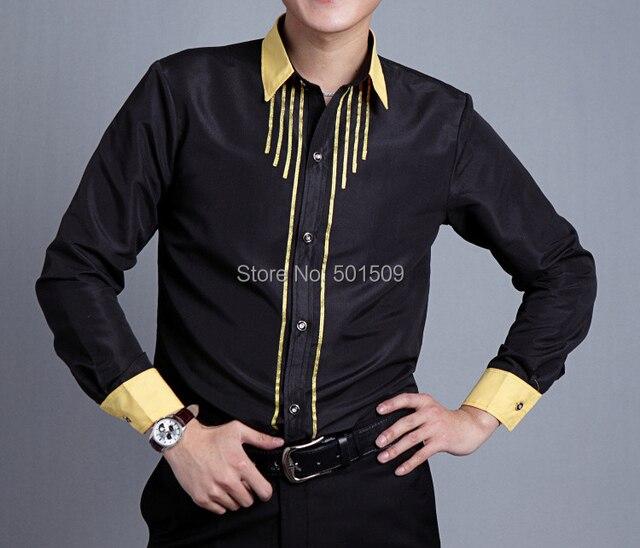 Бесплатная доставка черный/золотой полосой блеск украшение мужской смокинг рубашки партия/событие рубашки