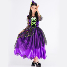 Witch clothes Halloween Costume Children COSPLAY Princess Dress purple witch girls stage performance party clothing