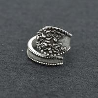10 adet Telkari Çiçek Nişan Yüzüğü Gelin Nedime Gümüş Kaşık Yüzükler Takı Kadınlar Için Bohemia Ayarlanabilir Yüzük RG71