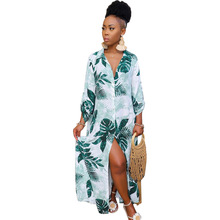 Leaf Print Long Shirt Dress Women Casual Long Sleeve Turn-down Collar Women Dress Elegant Office Lady Button Shirt Dress Vestido giyu women shirt dress with sash turn down collar dresses pocket vestido casual office lady empire robe femme