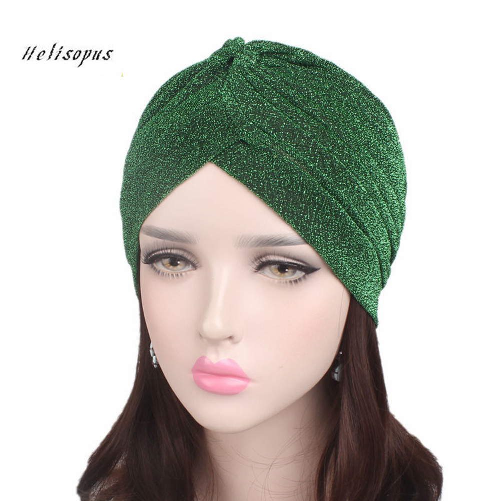 Helisopus 2019 Women Fashion New Shiny Turban Stretchable Soft Bright Hat Muslim Style Hijab Turban Head Wraps headpiece