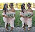 South African Blush Pink Sheath Bridesmaid Dresses 2017 Sexy Off Shoulder Satin Side Split Wedding Party Dresses Plus Size B105