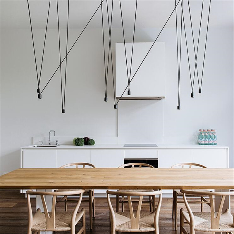 Unique Design Match Line Led Pendant Light Fixture Geometric DIY Wire Hanging Lamp Lustre Home Decor Industrial Spider Lamp