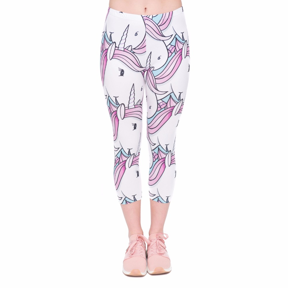 Summer Fashion Women Capri Leggings White Unicorns Printing Sexy Mid-Calf 3/4 Fitness Movement Leggins Capri Pants
