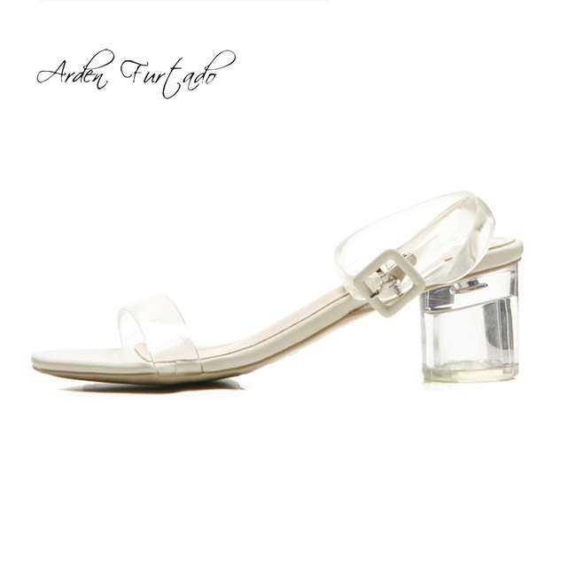 c3fce6c08b6c Arden Furtado 2019 summer fashion chunky heels ankle strap open toe crystal  clear pvc sandals big size 42 43