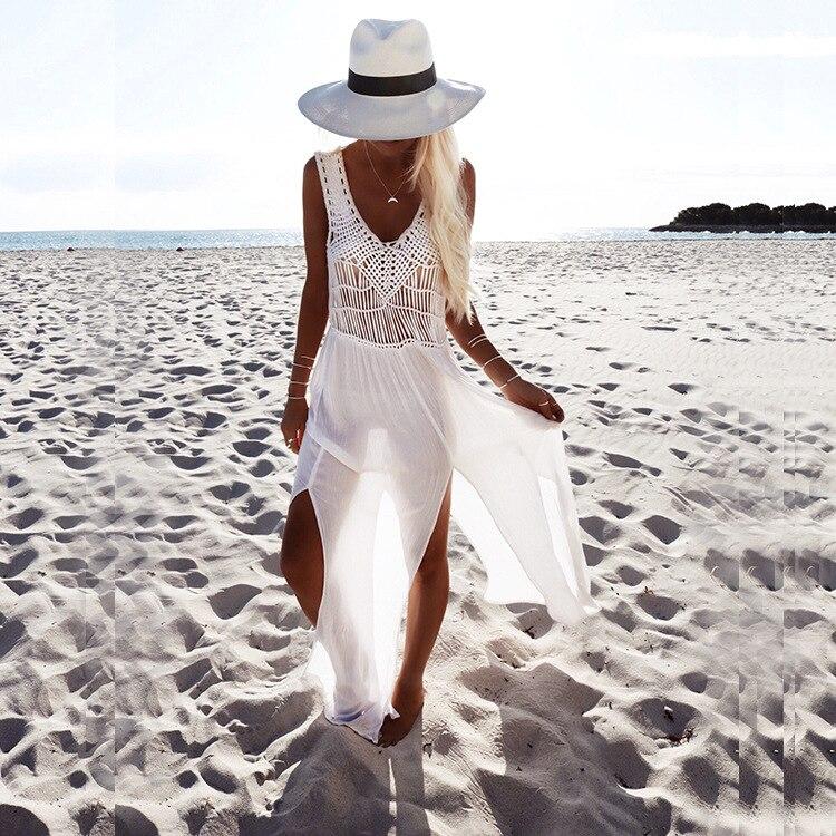 Con Nappe Lungo Beach Cover Up Colore Solido