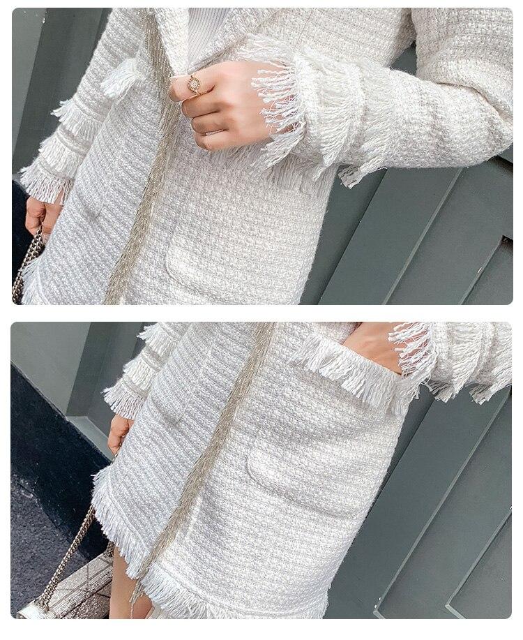 Tweed Donne Plaid Risvolto Di Esterno Delle Pannello Inverno E 2 Pulsante  Mini Set Della Bianco Lungo ... e44e7c8111a