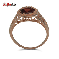 Free Shipping Custom Processing Exquisite Western Style Diana Rose Gold Pomegranate Stone 925 Sterling Silver Rings