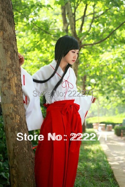 Inuyasha COSPLAY inuyasha platycodon grandiflorum clothes miko COS Suit Clothes Free Track Anime