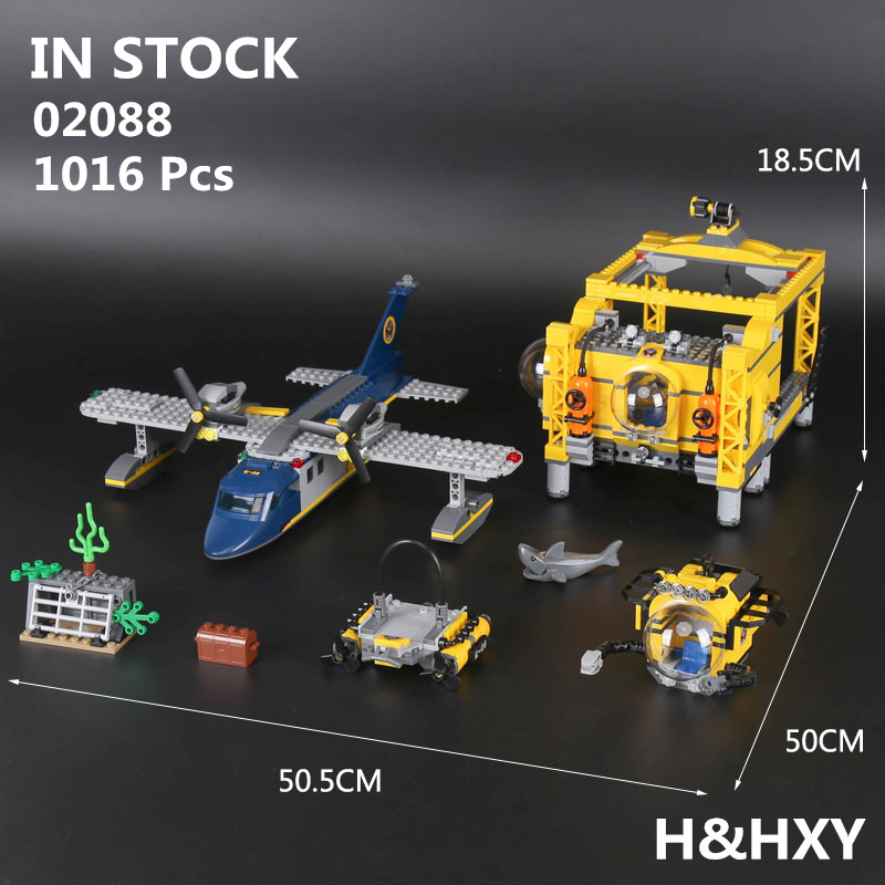 IN STOCK H&HXY 02088 1016Pcs Genuine City Series The Deep Sea Opearation Base Set LEPIN Building Blocks Bricks Gift 60096 model building blocks toys 02088 deep sea opearation base compatible with lego city series 60096 educational diy toys