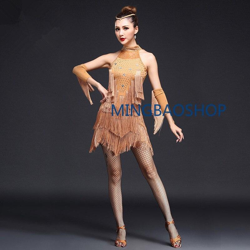 2019 Latin Dance Dress Sexy Women 5 Color Fringe Tassel Salsa Ballroom Tango Samba Dance Skirt with Gloves Latin Dress for Dance