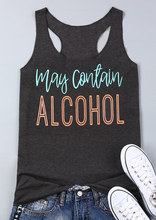 VESSOS Plus S-XXXL Fashion Women Tank Tops Letter May Contain Alcohol Printed O-Neck Sleeveless Summer Casual Soft Female Tops