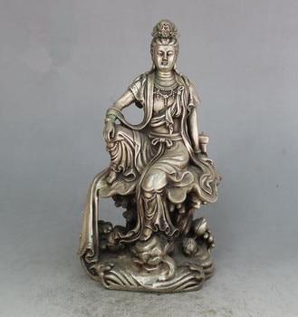 Collection archaize white copper Guanyin bodhisattva Buddha crafts statue