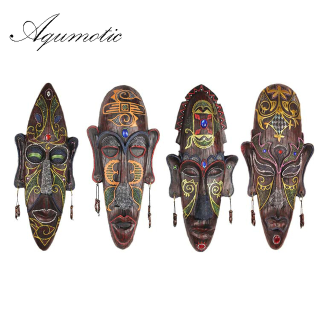 Aqumotic Wall Hanging African Mask Decor Tribe Manual Decoration Resin Face Cool