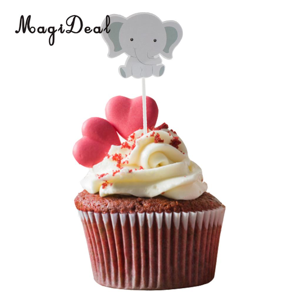 MagiDeal Hancraft 24Pcs/Lot Paper Cute Cartoon Elephant Cupcake Picks Cake Toppers for Birthday Party Baby Shower Decoration