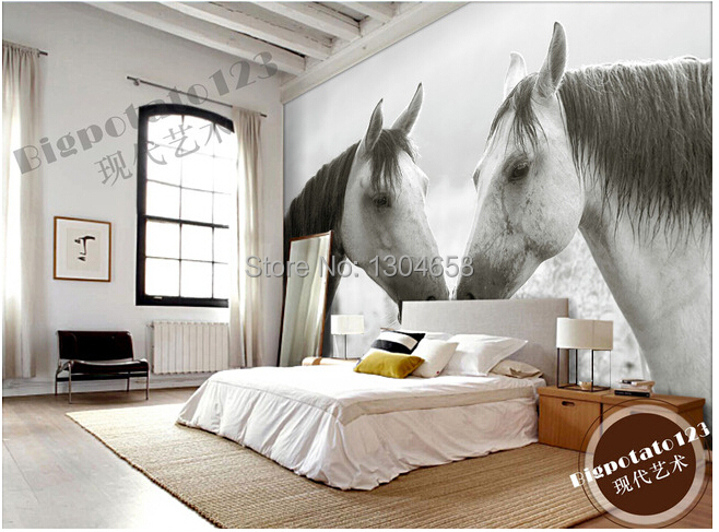 Aliexpress.com : Buy Custom photo wallpaper black and white horse ...