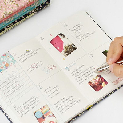 New Arrival Cute PU Leather Floral Flower Schedule Book Diary Weekly Planner Notebook School Office Supplies Kawaii Stationery 4