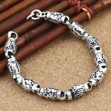 Men Bracelet 925 Sterling Silver Beaded Bracelet Width 8mm Vintage Punk Six Word's Mantra Bracelets Bangle Thai Silver Jewelry недорого