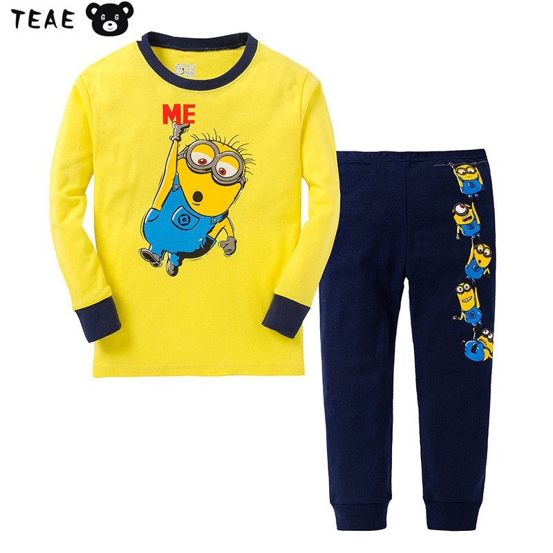 435ea7f057 4-7T Funny Kids Pajamas Set Cotton Cartoon Banana Tim Cute Christmas Anime  sleepwear for Children Tee bottom Toddler Clothes