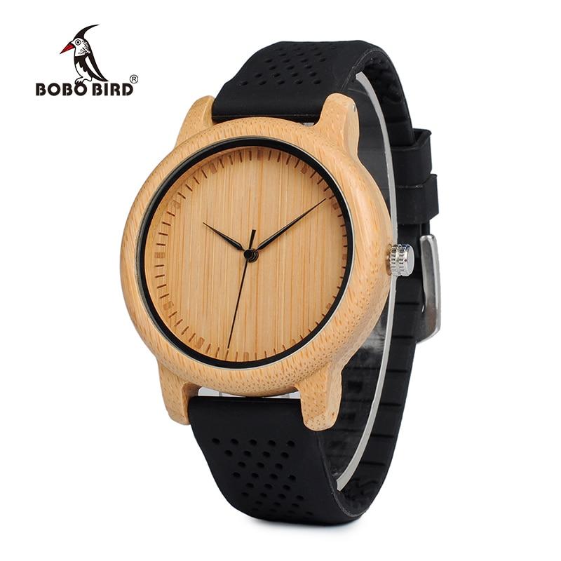 BOBO BIRD New Fashion Bamboo Wood Watch Soft Silicone Strap Japan Movement Quartz Watch  ...