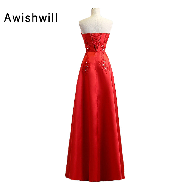 Floor Length Red Party Dresses Long Strapless Lace up Back Beaded ...