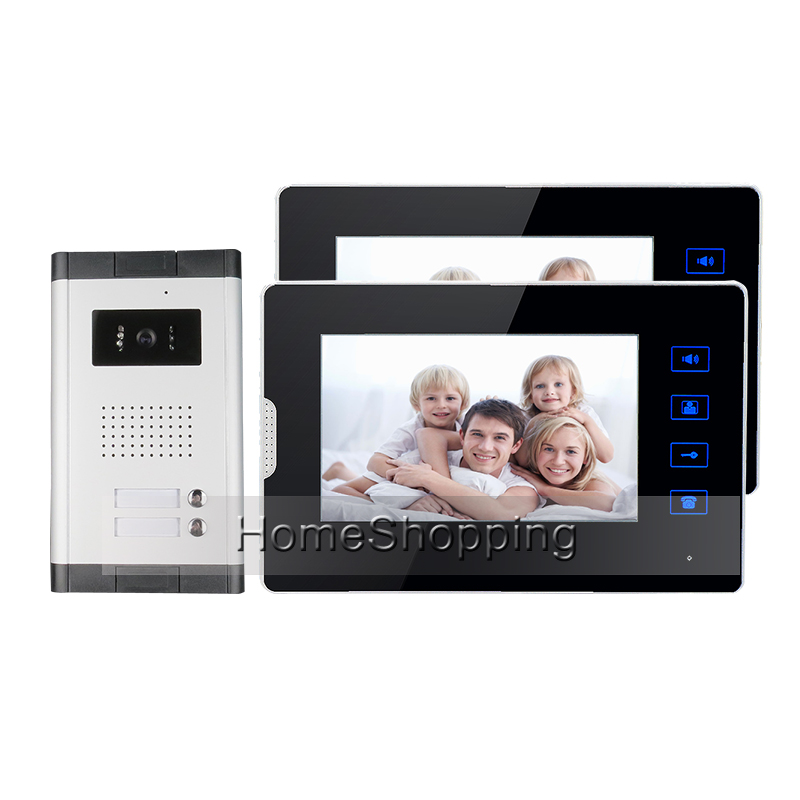 Apartment New 7 Video Door Phone Intercom Entry System With 2 Monitors + 1 Doorbell Camera for 2 House Family FREE SHIPPING new 4 3 video intercom apartment door phone system 2 hand held monitors 1 door camera for 2 household in stock free shipping