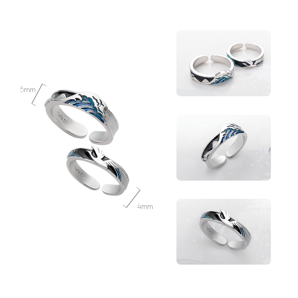 Image 3 - Thaya Flying Bird Wave Ring s925 Silver Blue Drop Oil 3D Wave Couple Rings for Women Elegant Irish Fine Jewelry Lovers'Gift-in Rings from Jewelry & Accessories