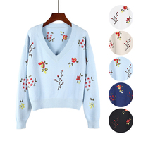 Embroidered sweater knitted pullovers thick sweater long sleeve knit tops warm floral tricots winter plus size jumper basic tops