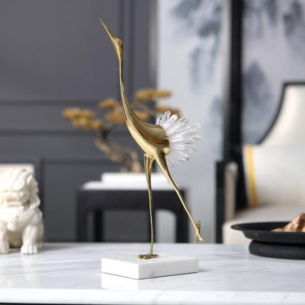 art deco design crystal crane home decorations copper desk deco showroom crafts